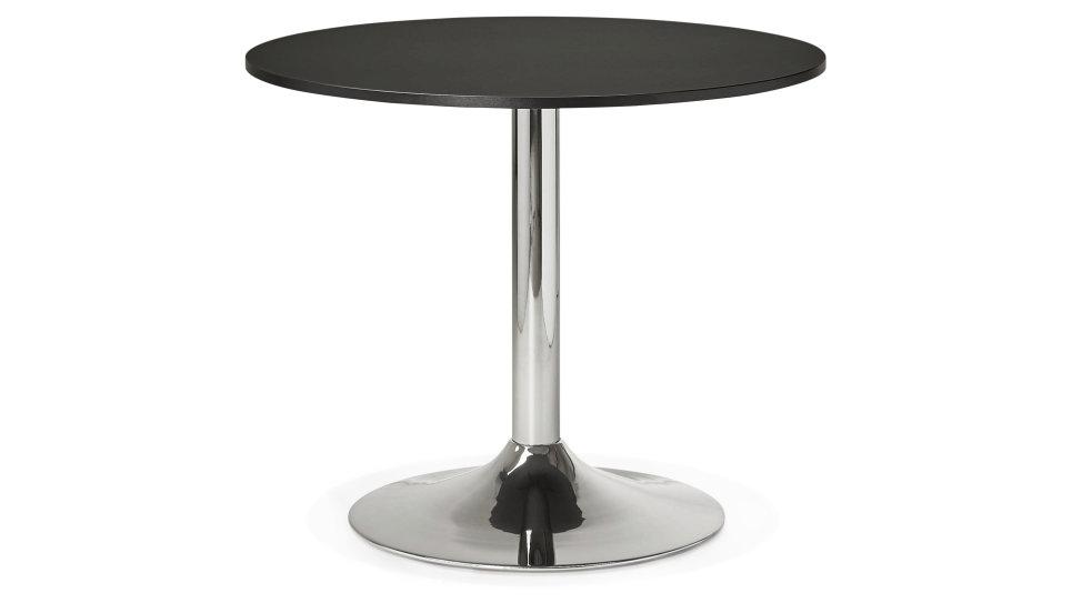 Table ronde D90 cm plateau Noir pied Chromé - Dino