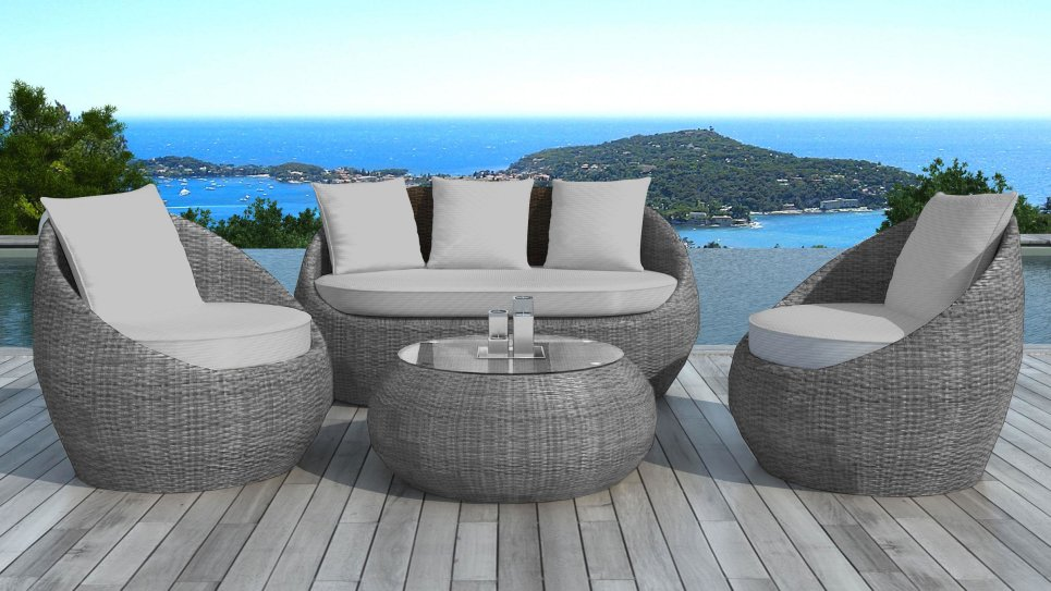 salon de jardin en r sine tress e ronde grise malaga. Black Bedroom Furniture Sets. Home Design Ideas