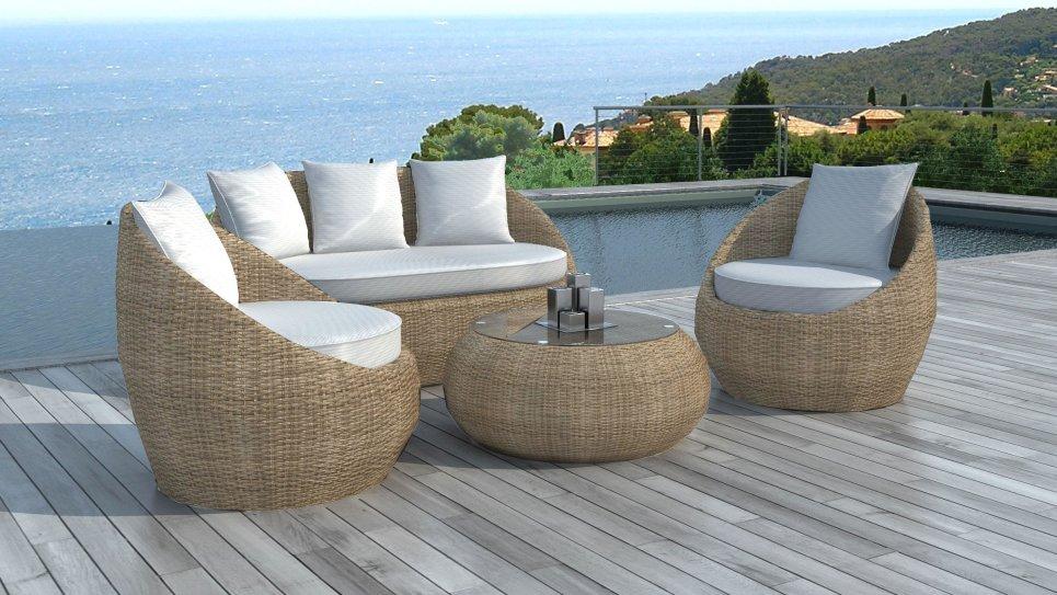 Salon de jardin en résine tressée ronde Rotin - MALAGA - Delorm Design
