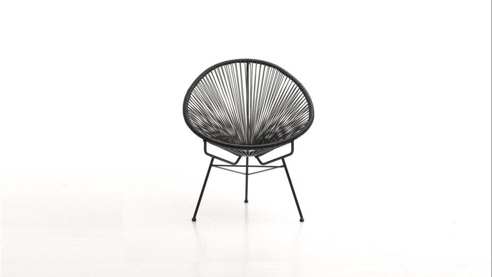 fauteuil scoubidou en résine tresée ronde noire - acapulco
