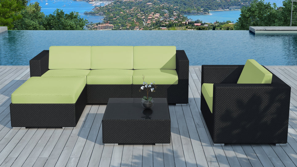 Salon de jardin résine tressée Noire/Vert - COPACABANA