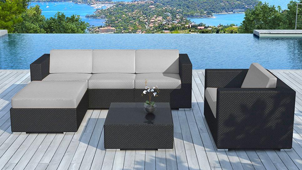 Salon de jardin en résine tressée Noire/Gris - COPACABANA - Delorm Design