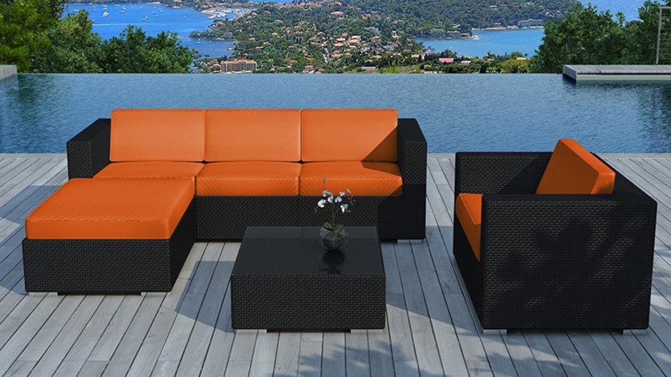 Salon de jardin résine tressée Noire/Orange - COPACABANA