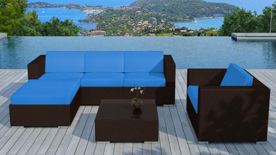 Salon de jardin tressé Chocolat/Bleu - COPACABANA