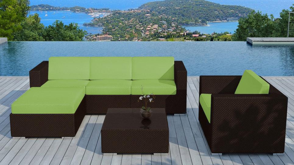 Salon de jardin resine Chocolat/Vert - COPACABANA - Delorm Design