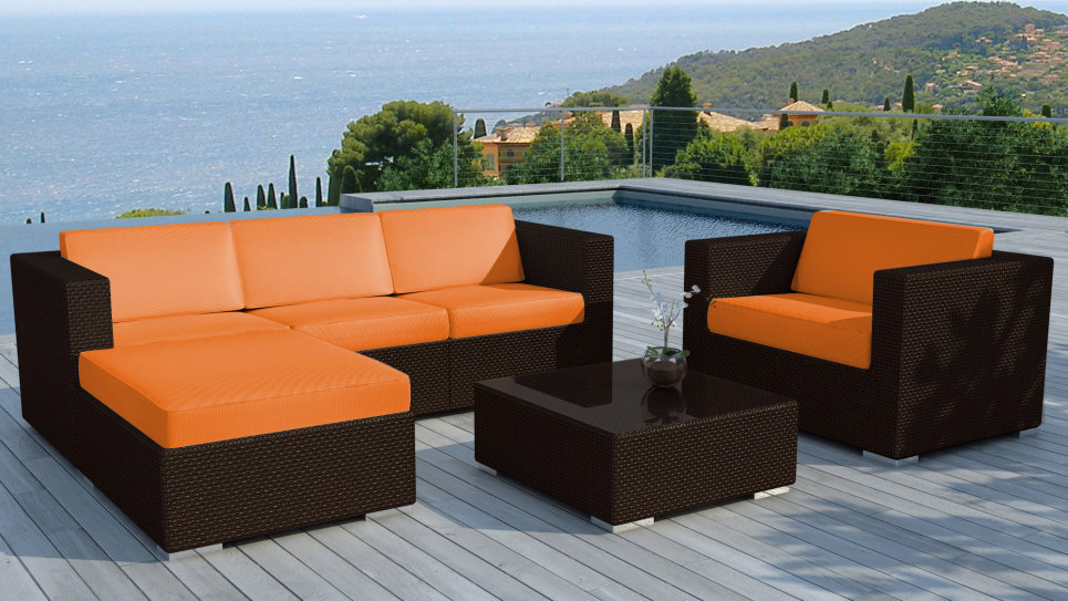 Salon de jardin resine Chocolat/Orange - COPACABANA - Delorm Design