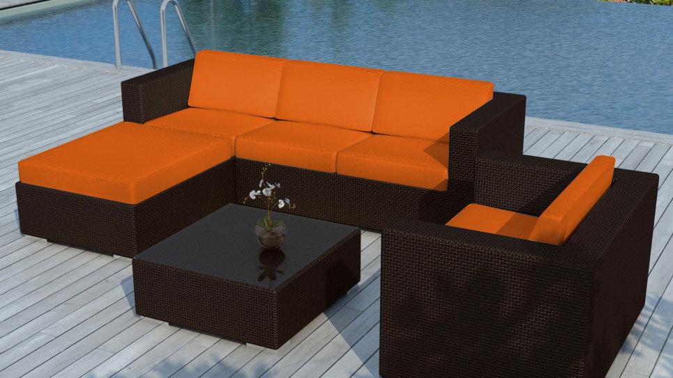 Salon de jardin resine Chocolat/Orange - COPACABANA - Delorm Design