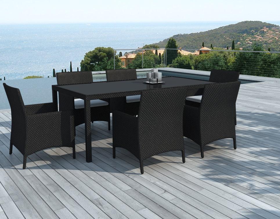 Table et chaise de jardin 6 personnes en résine tressée Noire - ESCONDIDO