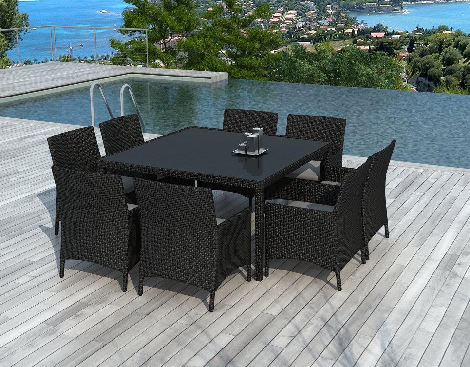 Table et chaises de jardin 8 personnes en résine tressée Noire - CARRÉ -  Delorm Design