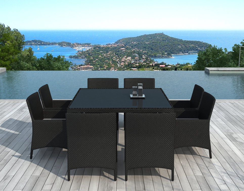 Table et chaises de jardin 8 personnes en résine tressée Noire - CARRÉ