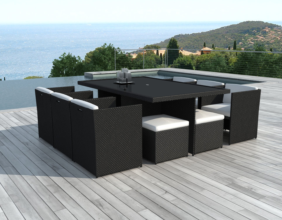 Salon de jardin encastrable 10 places en r sine tress e noire canc n - Table de jardin encastrable ...