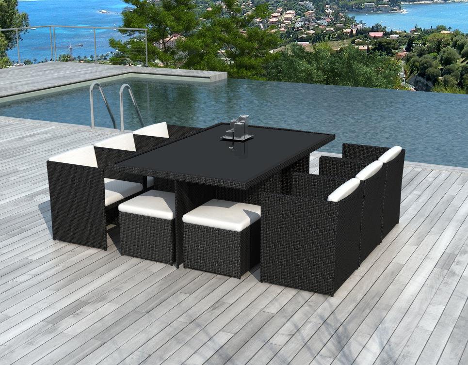 Salon de jardin encastrable 10 places en résine tressée Noire - CANCÙN -  Delorm Design