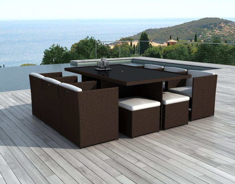 Salon de jardin encastrable 10 places en résine tressée Chocolat - CANCÙN -  Delorm Design