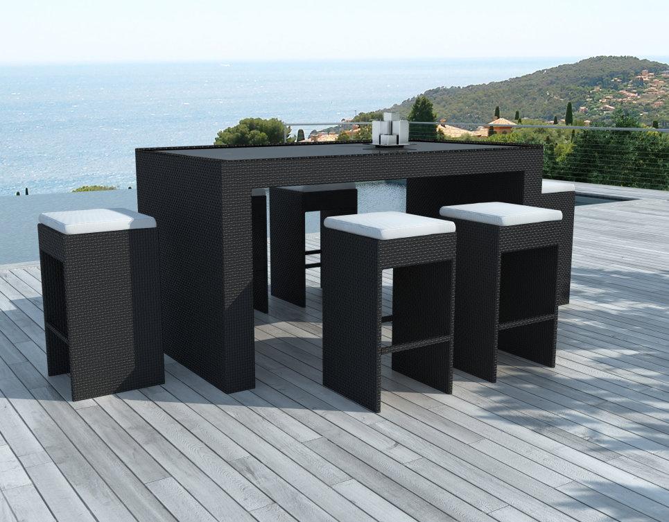 Bar de jardin design en résine tressée, structure aluminium