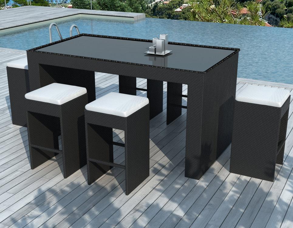 Bar de jardin et 6 tabourets en résine tressée Noire - BARRIO