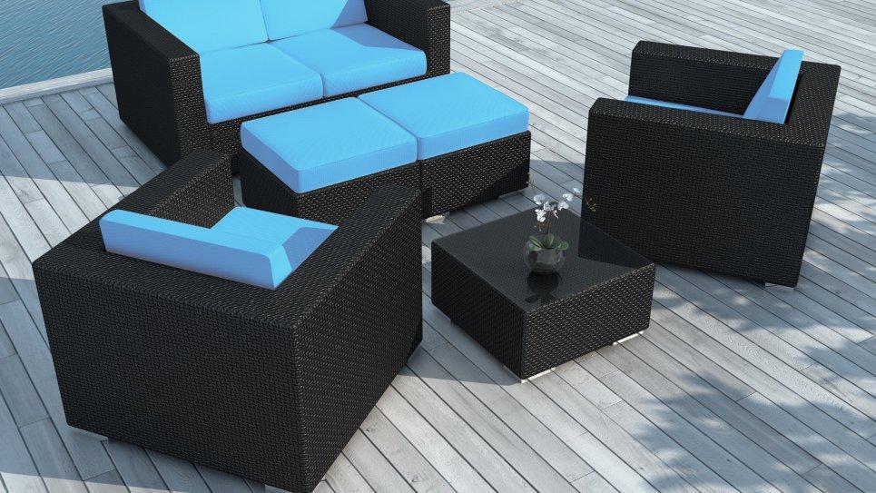 Salon de jardin en résine tressée Noire/Bleu - PAUSA