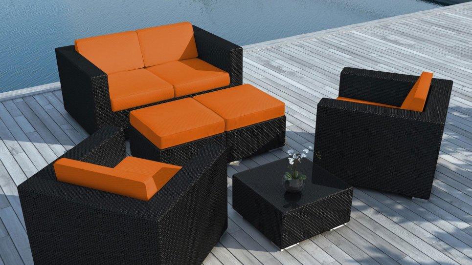Salon de jardin en résine tressée Noire/Orange - PAUSA