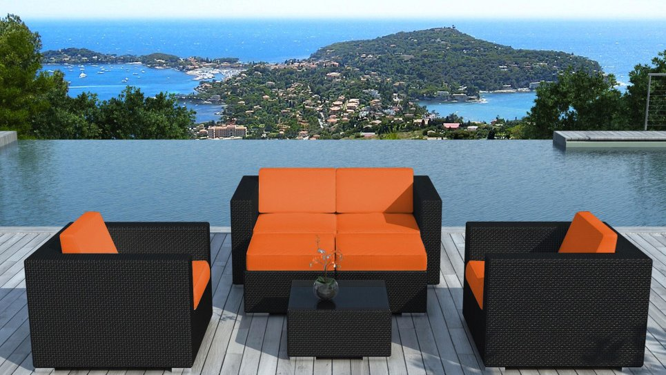 Salon de jardin en résine tressée Noire/Orange - PAUSA - Delorm Design