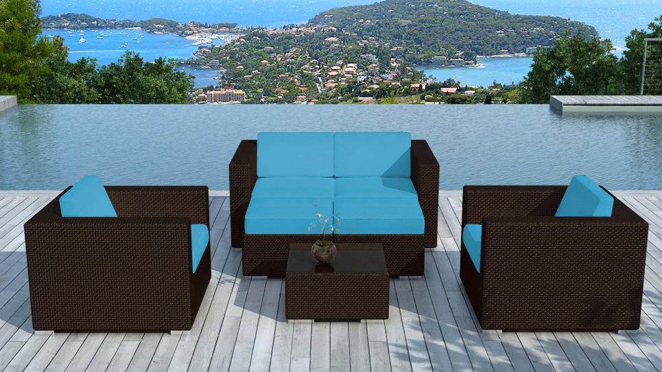 Salon de jardin en résine tressée Chocolat/Bleu - PAUSA - Delorm Design
