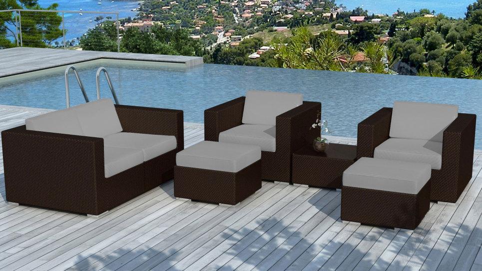 Salon de jardin en résine tressée Chocolat/Gris - PAUSA - Delorm Design