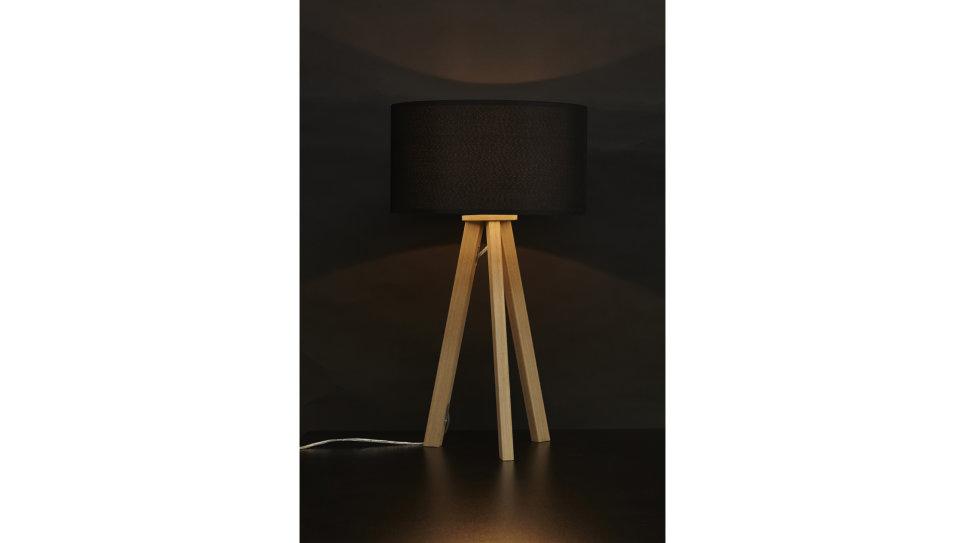 Lampe trépied abat-jour noir pied chêne clair - Modena