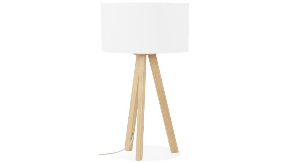 Lampe trépied abat-jour Blanc pied chêne clair - Modena