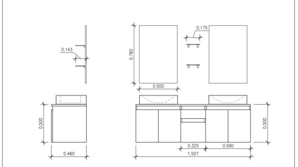 Meuble salle de bain suspendu noir à vasques carrées - Cina
