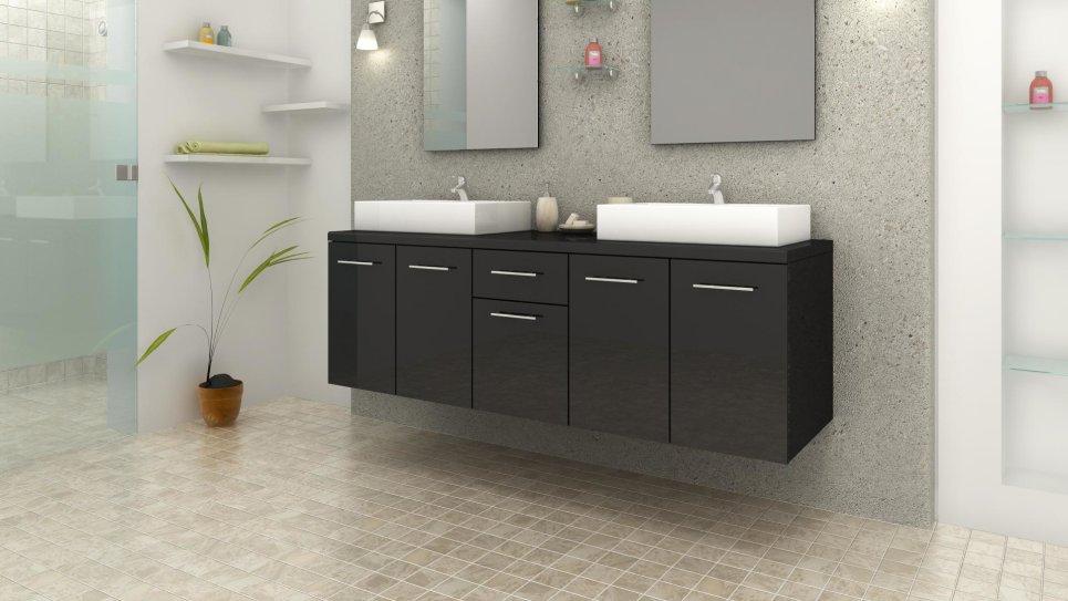 Meuble de salle de bain design double vasque rectangulaire noir