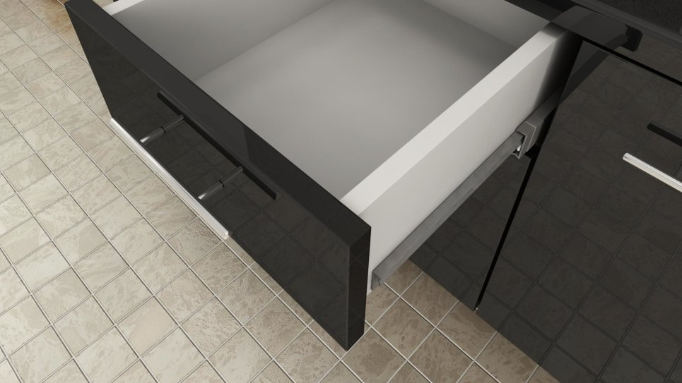 Meuble de salle de bain double vasque noir - Olga