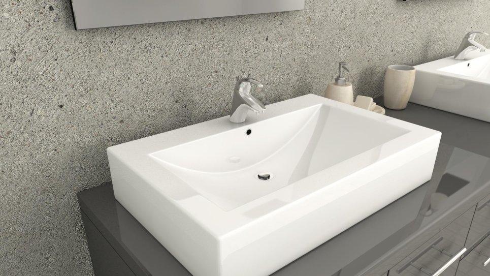 Ensemble meuble salle de bain design avec 2 vasques carrées - Olga Gris