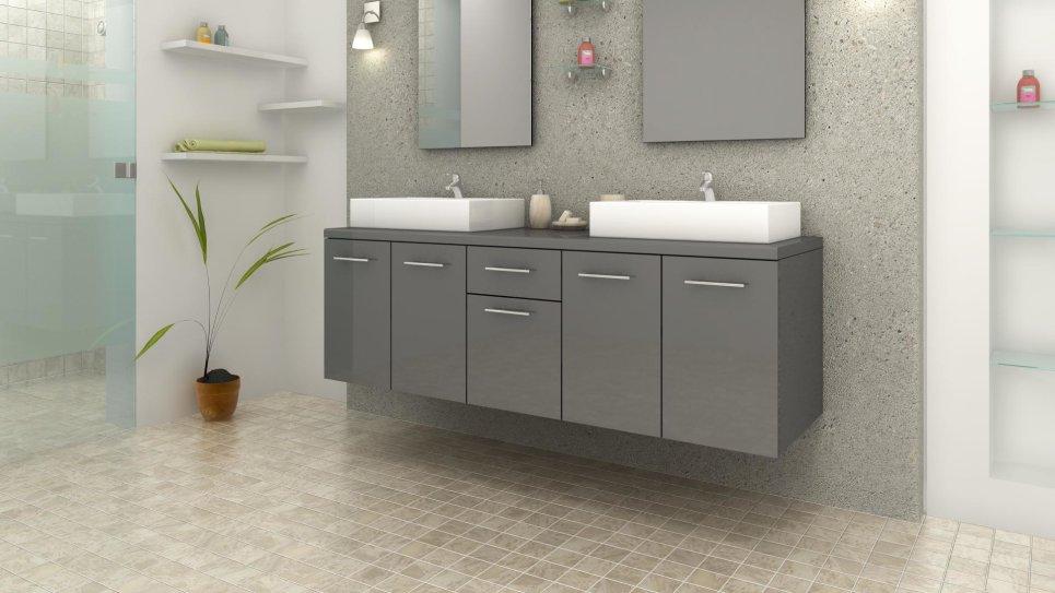 Ensemble complet meuble salle de bain gris laqué double vasques carrées
