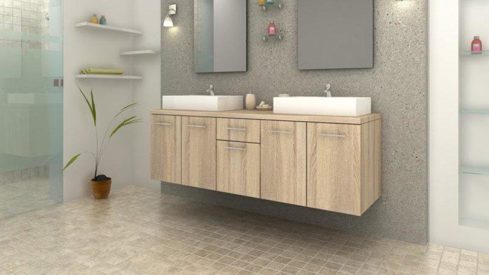 Meuble de salle de bain Olga chêne naturel