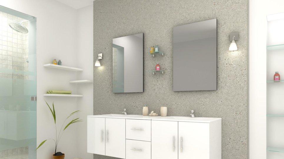 Meuble de salle de bain double vasque blanc - Tiana
