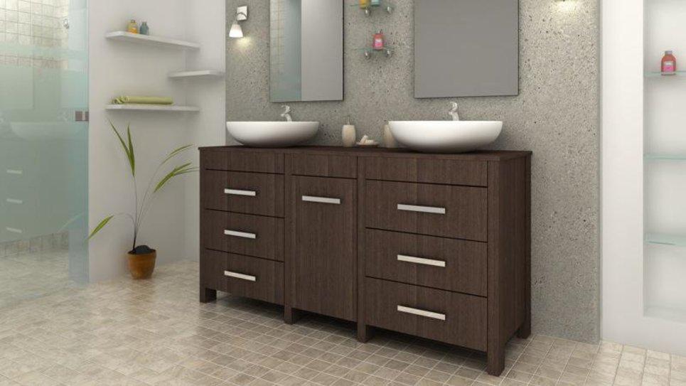 Meuble de salle de bain design wengé complet double vasques rondes