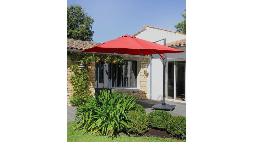 Parasol déporté Rouge 300 x 300 cm - ROMI