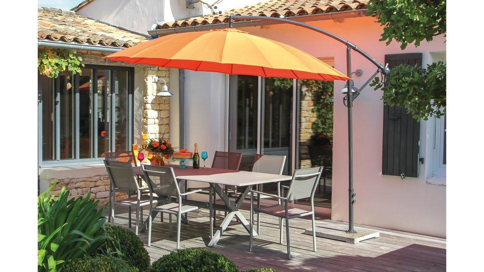 Parasol déporté Orange 300 cm fibre de verre - PAGO