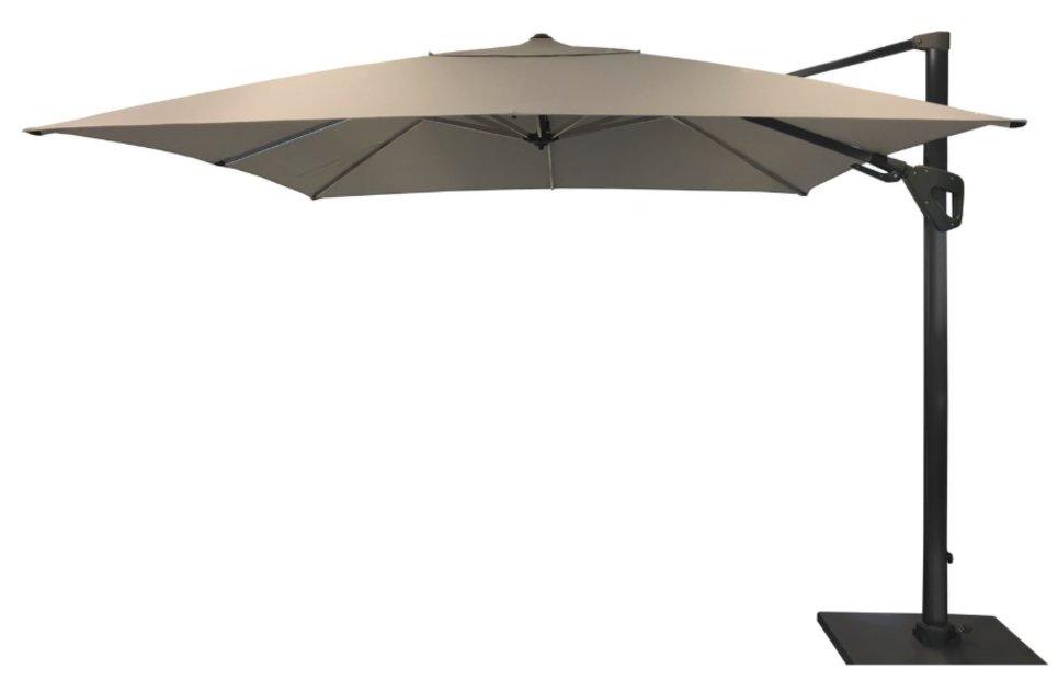 Parasol déporté Orientable 300 x 300 cm toile Hotsun gris clair - SOLI