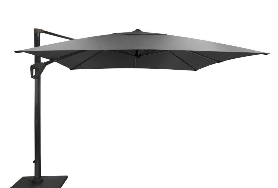 Parasol déporté Orientable 300 x 300 cm toile Hotsun gris foncé - SOLI