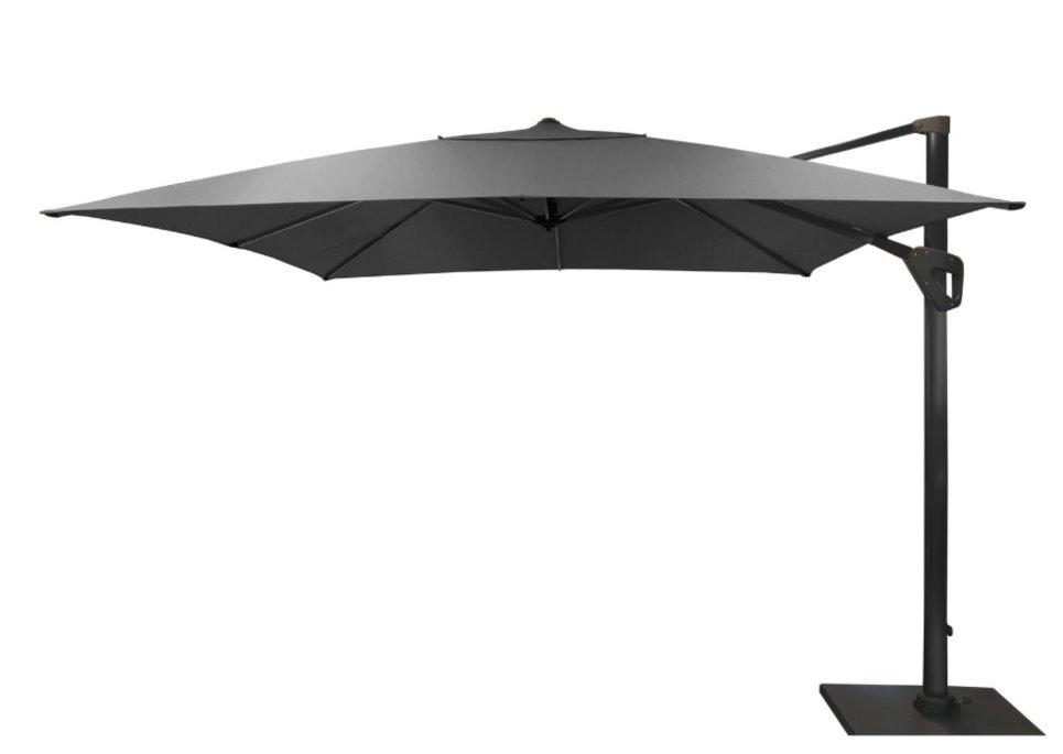 Parasol déporté Full Led 300 x 300 cm toile Hotsun gris foncé - LUZ