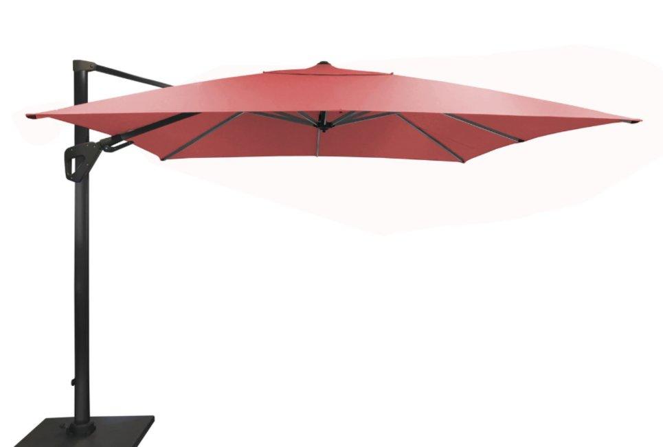 Parasol déporté Orientable 300 x 300 cm toile Sunbrella rouge - SONE
