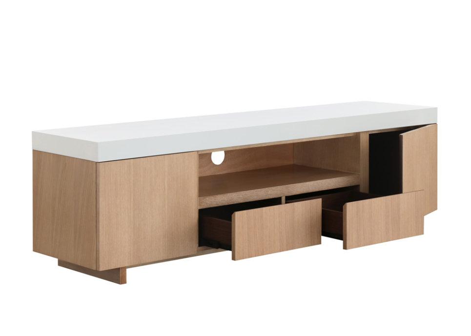 Meuble Tv design 2 portes 1 niche 2 tiroirs - CARE