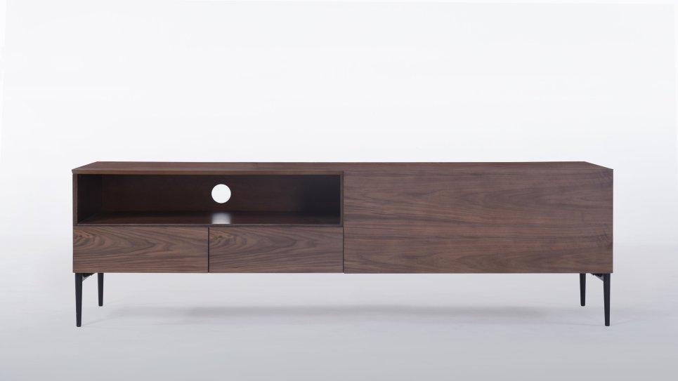 meuble tv noyer 1 niche 2 tiroirs 1 porte milton