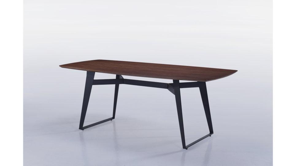 Table moderne 180cm plateau Noyer/Pieds Noir - SVEN