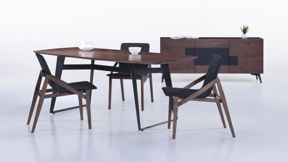 Table moderne 200cm plateau Noyer/Pieds Noir - SVEN