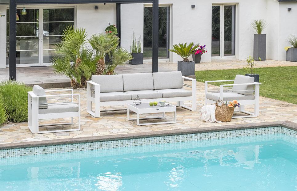 Salon de jardin aluminium blanc haut de gamme - MARBELLA