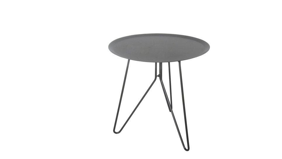 table bout de canap ronde en m tal gris. Black Bedroom Furniture Sets. Home Design Ideas