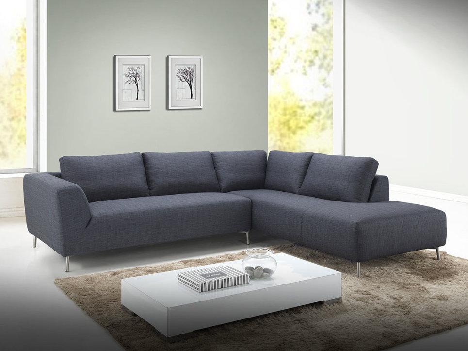 canap d 39 angle xxl en tissu gris fonc avec coussins inclus. Black Bedroom Furniture Sets. Home Design Ideas