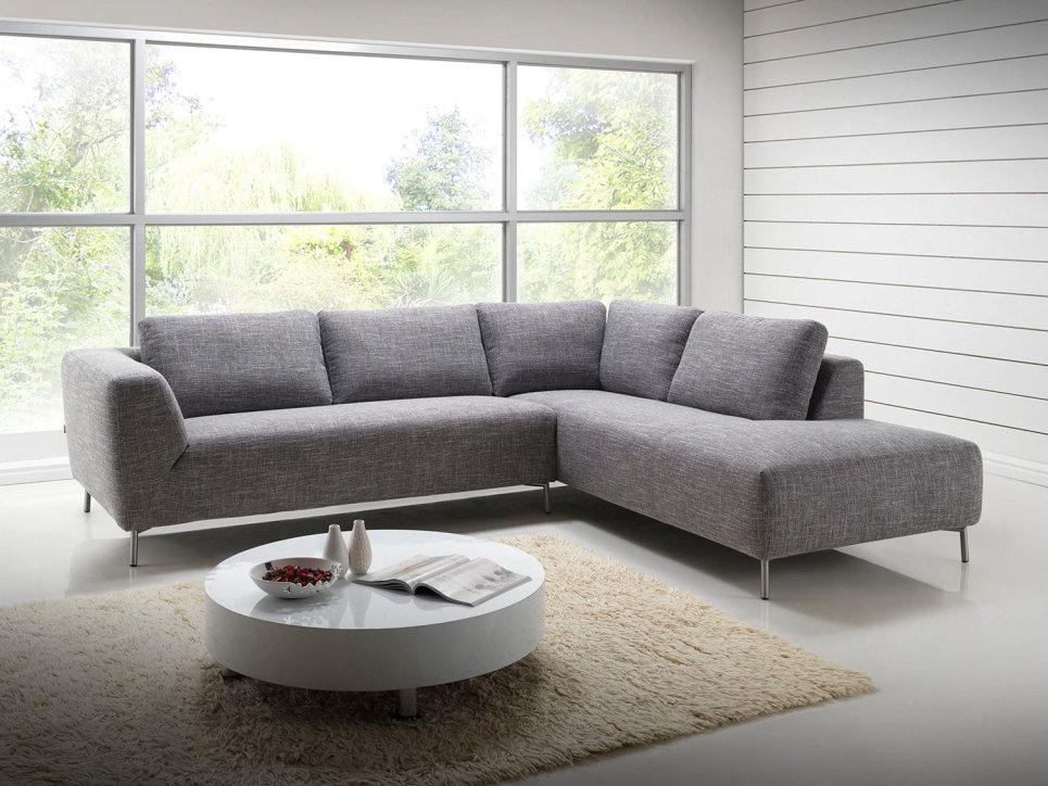 Salon canap d 39 angle design avec m ridienne en tissu gris - Modele de canape en tissus ...