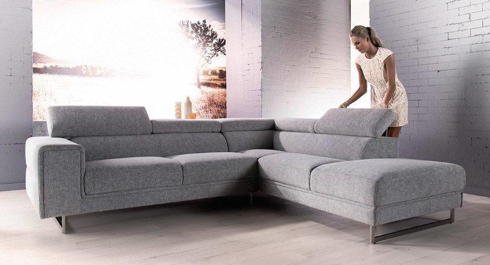 canap design en tissu fixe gris 2 places longueur 180 cm. Black Bedroom Furniture Sets. Home Design Ideas