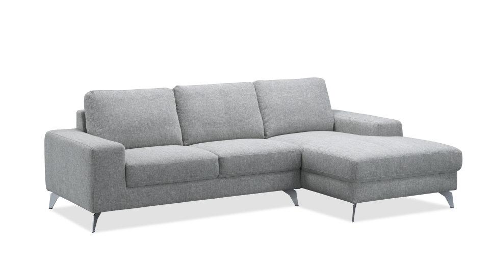 salon canap d 39 angle design avec m ridienne en tissu gris. Black Bedroom Furniture Sets. Home Design Ideas